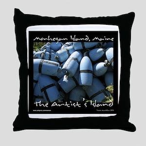 Monhegan Island Blue Buoys Throw Pillow