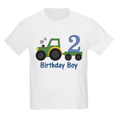 2nd Birthday Tractor Kids Light T-Shirt
