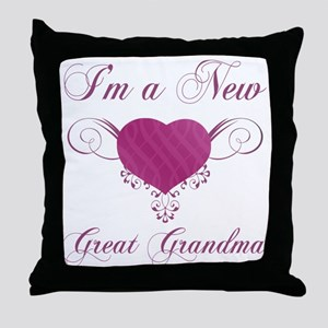 Heart For New Great Grandmas Throw Pillow