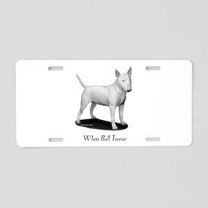 White Bull Terrier Aluminum License Plate