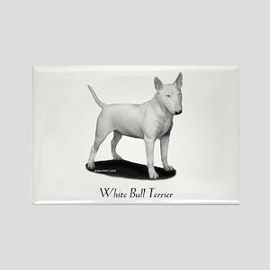 White Bull Terrier Rectangle Magnet