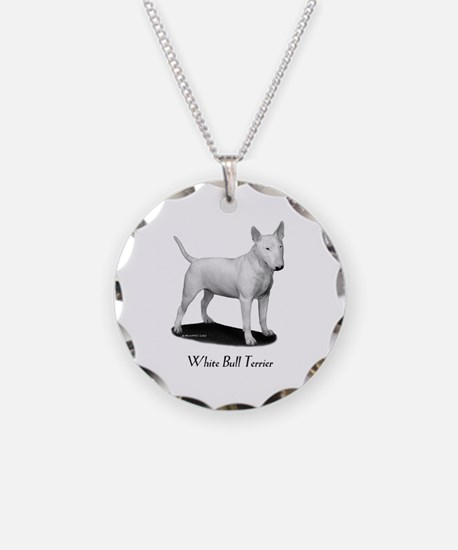 White Bull Terrier Necklace Circle Charm