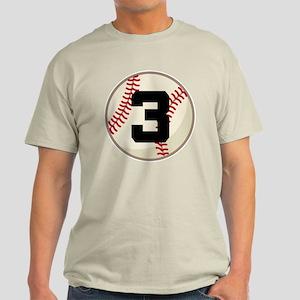 Baseball Player Number 3 Team Light T-Shirt