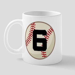 Baseball Player Number 6 Team Mug