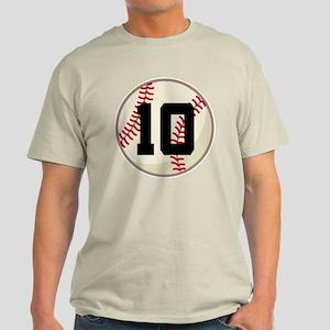 Baseball Player Number 10 Team Light T-Shirt