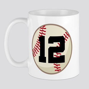 Baseball Player Number 12 Team Mug