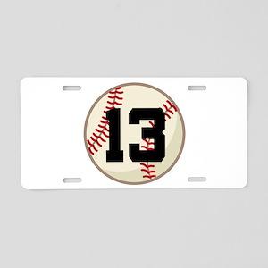 Baseball Player Number 13 Team Aluminum License Pl
