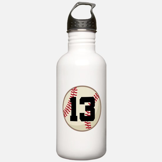 Baseball Player Number 13 Team Water Bottle