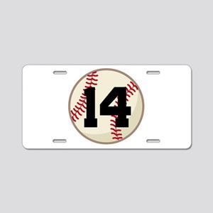 Baseball Player Number 14 Team Aluminum License Pl