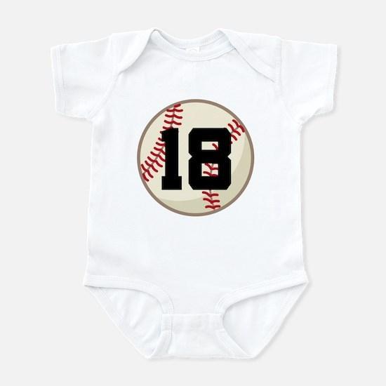 Baseball Player Number 18 Team Infant Bodysuit