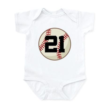 Baseball Player Number 21 Team Infant Bodysuit