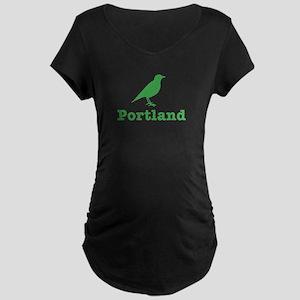 Vintage Green Portland Bird Maternity Dark T-Shirt