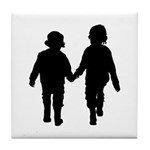 Two Kids in Silhouette Tile Coaster