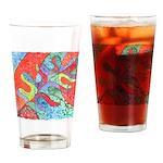 Multicolor Oak Leaf Art Drinking Glass
