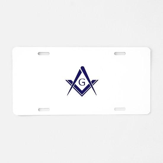 Modern Square & Compass Aluminum License Plate