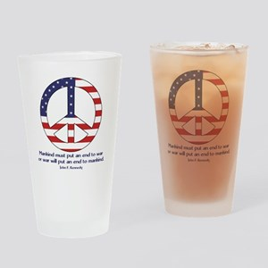 Peace Sign With JFK Quote Pint Glass