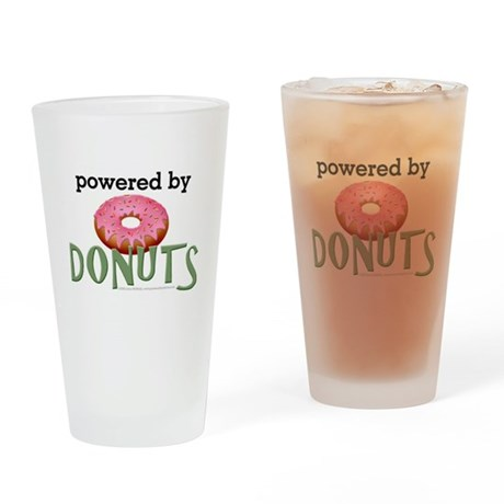 Powered By Donuts Drinking Glass