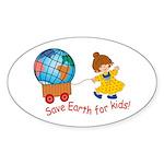 World For Kids Oval Sticker