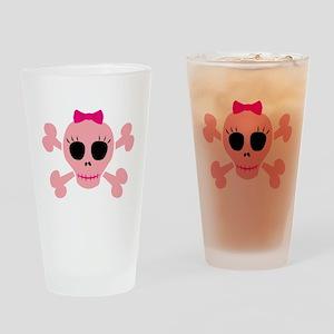 Funny Pink Skull Pint Glass