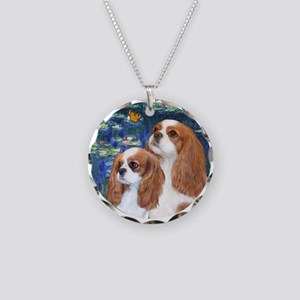 Lilies #5-Two Cavaliers (BL) Necklace Circle Charm