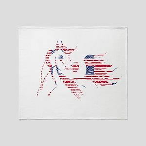 Patriotic Arabian Horse Throw Blanket