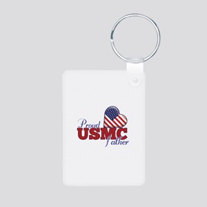Proud USMC Father - Aluminum Photo Keychain