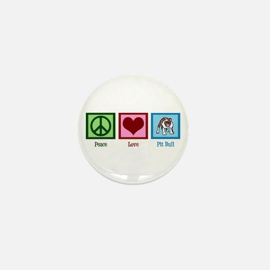 Peace Love Pit Bull Mini Button