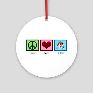 Peace Love Pit Bull Ornament (Round)