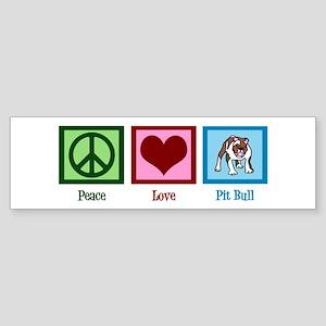 Peace Love Pit Bull Sticker (Bumper)
