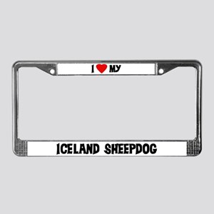 I Love My Iceland Sheepdog License Plate Frame