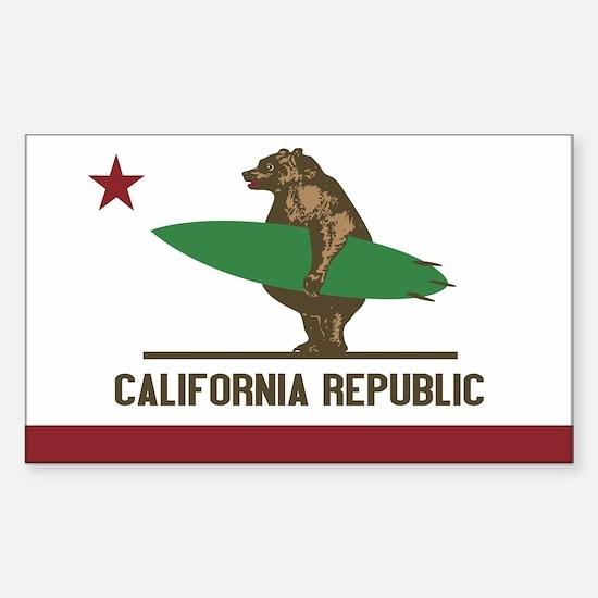 California Surfing Bear Flag Sticker (rectangle)
