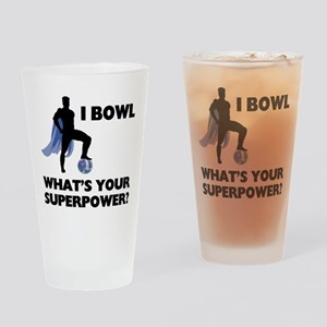 Bowling Superhero Drinking Glass