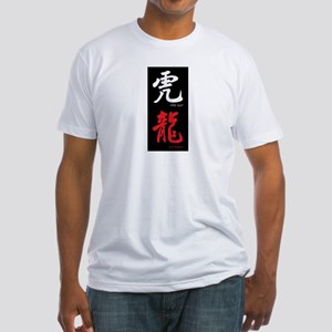 Chinese White Tiger Red Dragon Fitted T-Shirt
