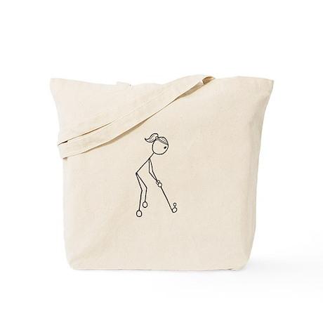 Golf Girl Black No Words Tote Bag