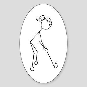 Golf Girl Black No Words Sticker (Oval)