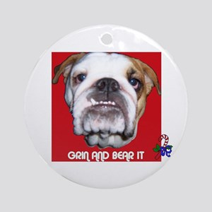 BULL DOG (CANDY CANE  XMAS LOOK) Ornament (Round)