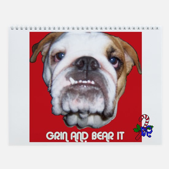 BULL DOG (CANDY CANE  XMAS LOOK) Wall Calendar