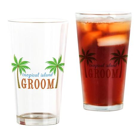 Groom Tropical Wedding Pint Glass