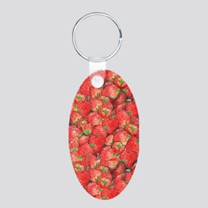 Strawberries Aluminum Oval Keychain