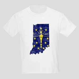 Indiana Flag Map Kids Light T-Shirt