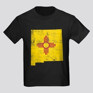 New Mexico Flag Map Kids Dark T-Shirt