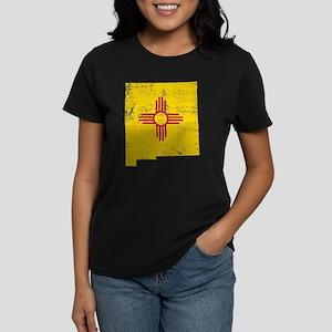 New Mexico Flag Map Women's Dark T-Shirt