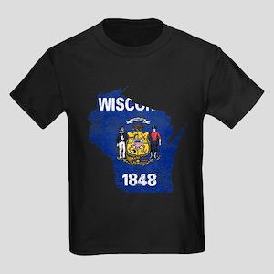 Wisconsin Flag Map Kids Dark T-Shirt