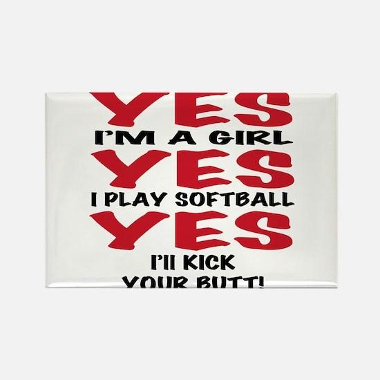 Girls Softball Rectangle Magnet
