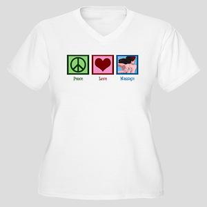 Peace Love Massage Women's Plus Size V-Neck T-Shir