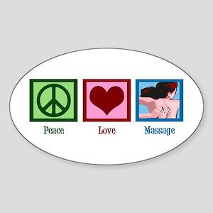 Peace Love Massage Sticker (Oval)