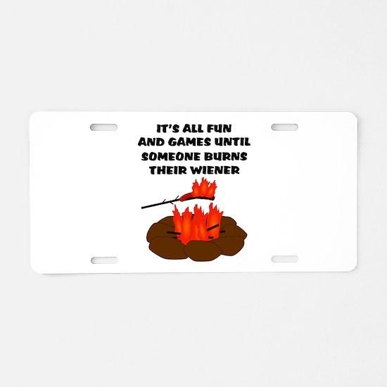 Someone Burns Wiener Aluminum License Plate