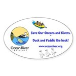Ocean River Duck and Paddle Sticker (Oval )