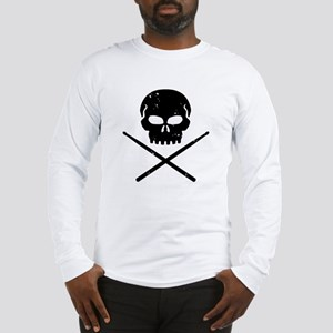 Skull and Drum Sticks Long Sleeve T-Shirt
