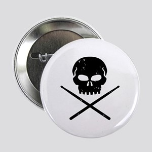 "Skull and Drum Sticks 2.25"" Button"
